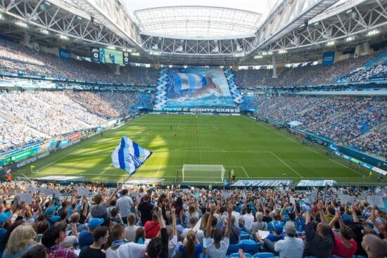 View of Euro 2020 venue Krestovsky Stadium from the stands