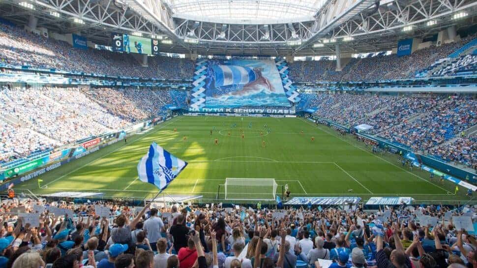 behind the goal view at Krestovsky Stadium in Russia
