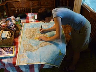 woman mapping a soccer trip