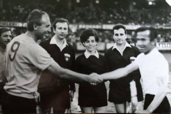 woman officiating men's football game istanbul