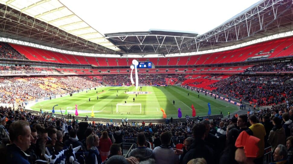 View of Euro 2020 venue Wembley Stadium from the stands