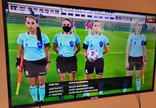 four female referees prepare to officiate Copa Libertadores game