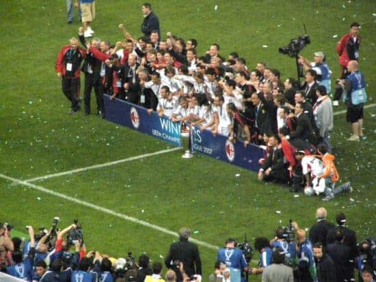 AC Milan with Champions League Trophy in 2007