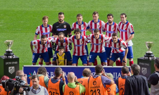 Atletico Madrid in famous red and white