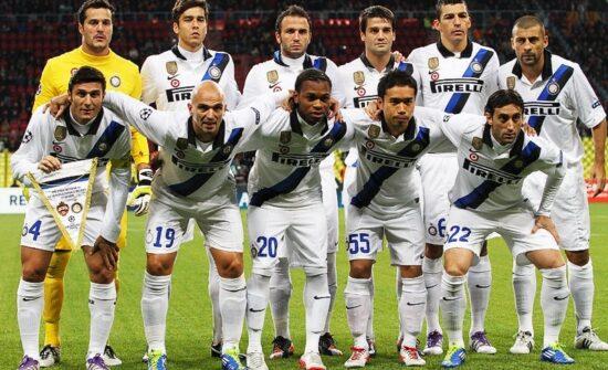 Inter Milan in their blue and black stripe shirts