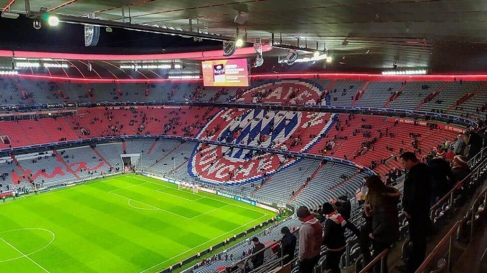 Empty interior of Bayern Munich's Allianz Arena