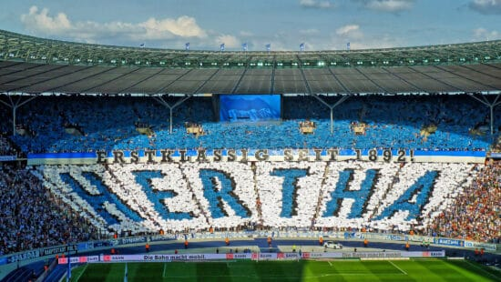 Fan support at Hertha Berlin home game