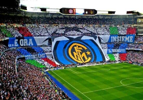 Behind the goal seats and fans with banners at Inter Milan