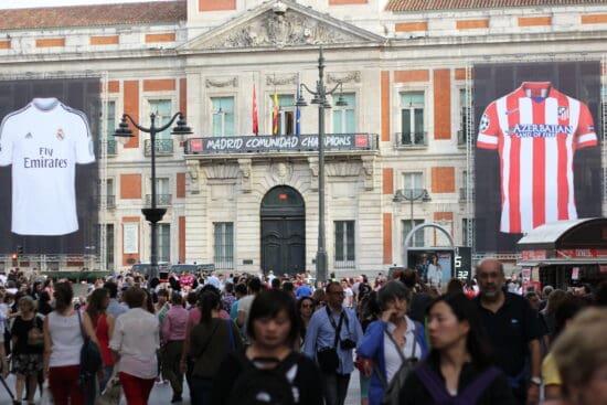 la liga shirts on historic building in madrid