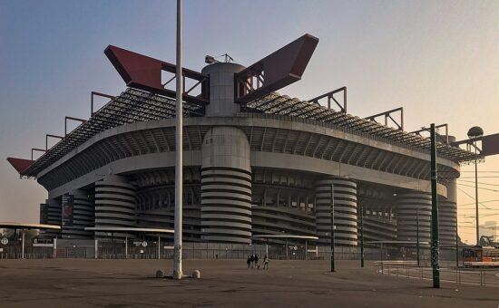 Exterior of San Siro football stadium in Milan, Italy