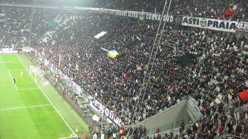 Juventus Stadium supporters behind a goal.
