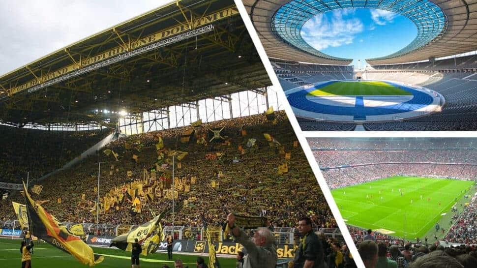 photo compilation of bundesliga teams and stadiums