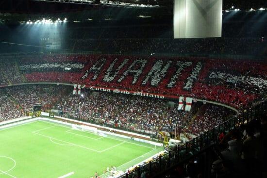 AC Milan fans banner at San Siro Stadium