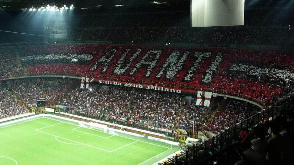 AC Milan fans banner at San Siro Stadium.