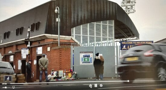 """Exterior of Selhurst Park football ground, in a scene from """"Ted Lasso."""""""