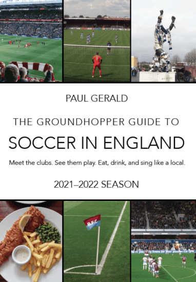 """Cover of the 2021-22 edition of """"The Groundhopper Guide to Soccer in England"""""""
