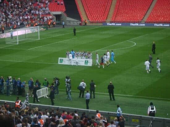 Darlington with the FA Trophy inside Wembley Stadium
