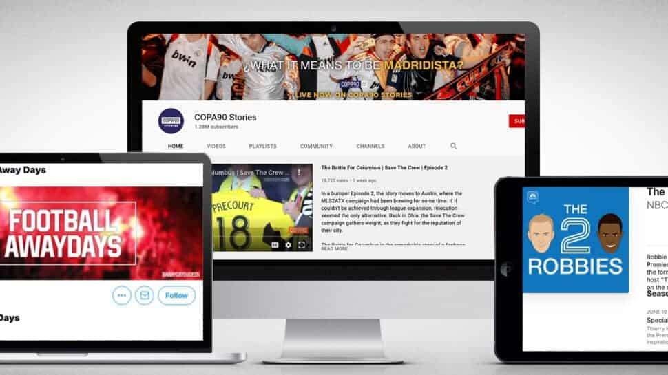Screenshots of top English Football social media