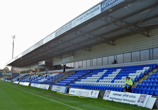An empty stand at Moss Rose, home of Macclesfield FC.