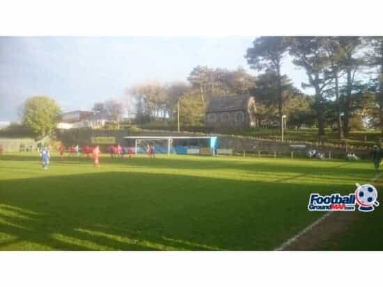 Football players on the pitch at Marlborough Park in Ilfracombe, Devon, England.