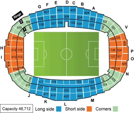 Seating chart for the Parc des Princes stadium at Paris Saint Germain.