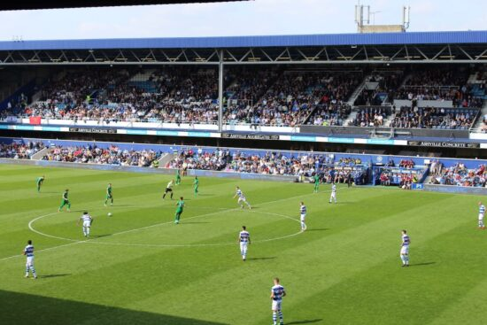 Kickoff of a football game at Loftus Road Stadium, home of QPR