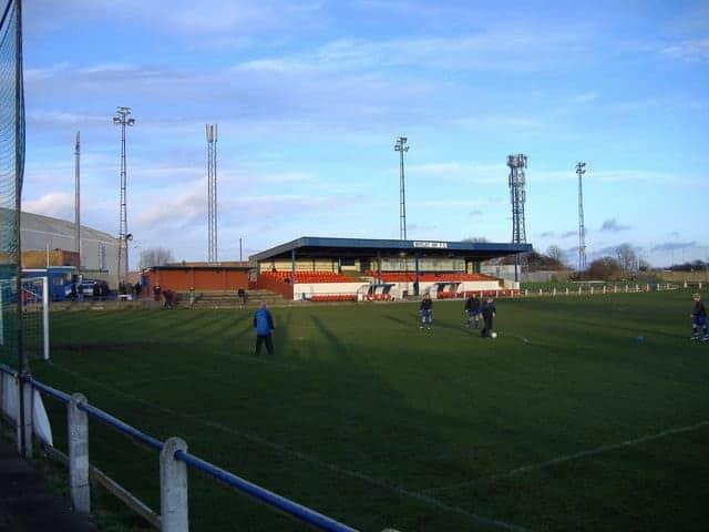 Players warming up at Whitley Bay FC.