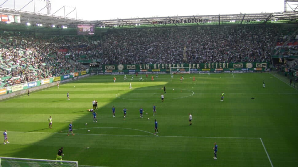 view of pitch from behind the goal at Allianz Stadium