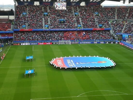 pregame of 2019 Women's World Cup game between Japan and Netherlands at Rennes