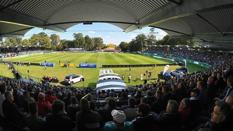 view from the stands at Mura's Fazanerija Stadium