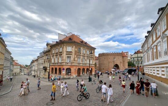 buildings lining a pedestrian street in Warsaw