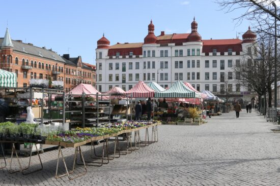 Street view of Möllevångstorget in Sweden