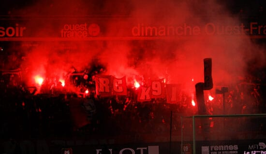 Flares in stands during Rennes match