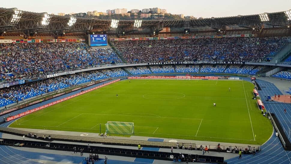 Panoramic pic of soccer stadium in Naples Italy