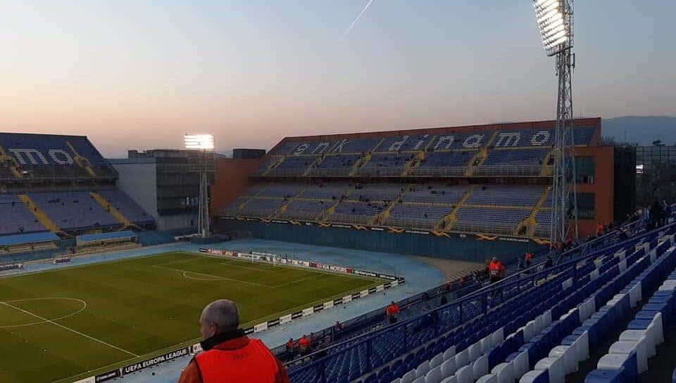 empty stadium in Zagreb, Croatia
