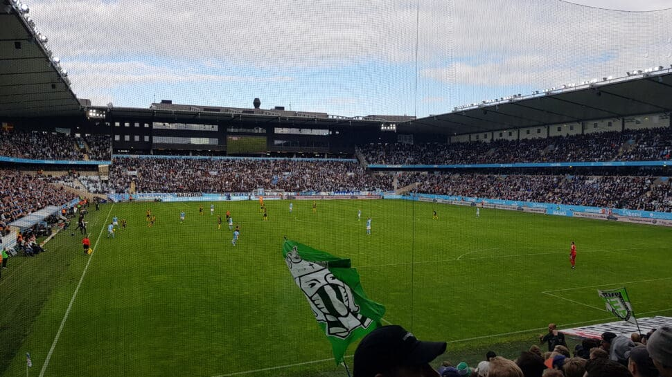 behind the goal view at Malmö's stadium