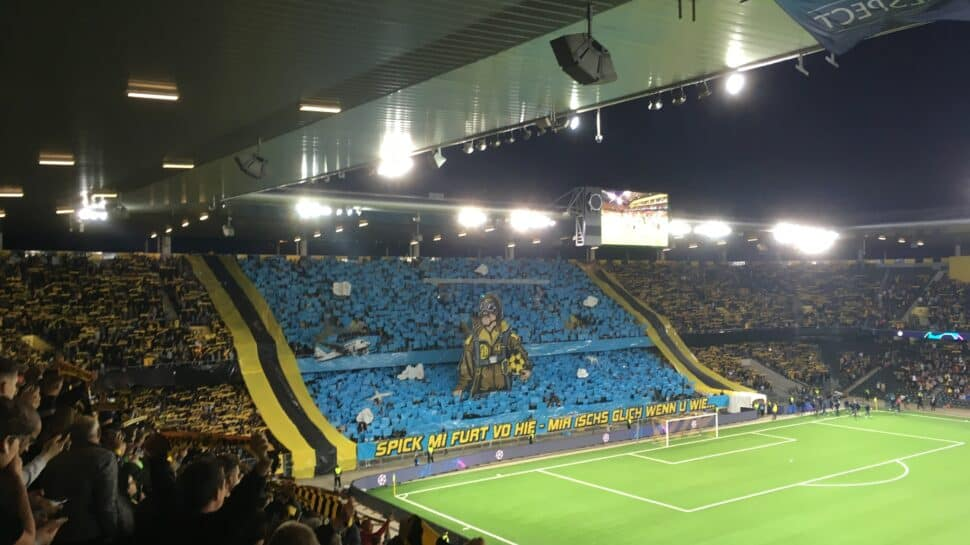 view of stands behind goal and Wankdorf Stadium