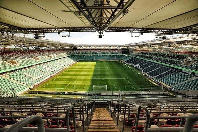 shortside view of pitch at Legia Warsaw's Stadion Wojska Polskiego