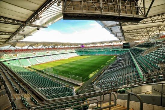 empty Warsaw Polish Army Stadium viewed from upper corner seats