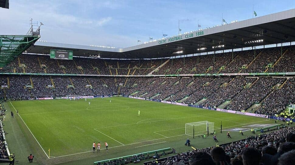 view of celtic park in glasgow filled with fans
