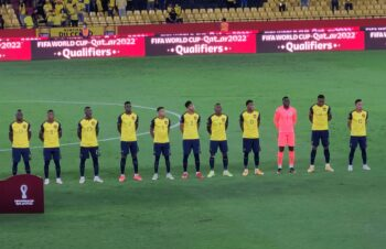 Ecuador national team players lined up before game