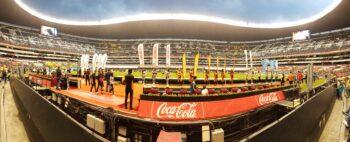 Estadio Azteca pitchside panorama liga mx game