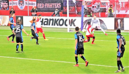 Club Brugge attempts a shot on goal