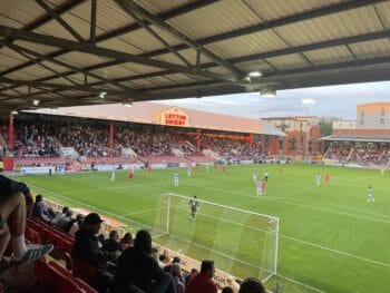 view of pitch and fans at Leyton Orient