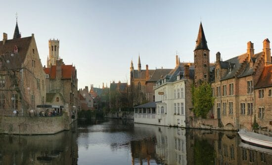 city view with canal of Bruges