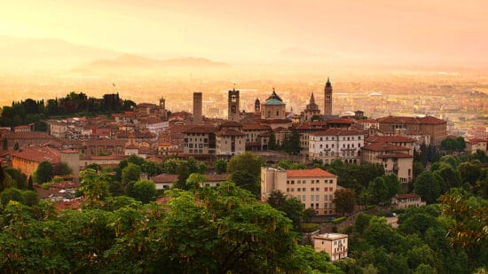 view of the historic city of Bergamo, Italy