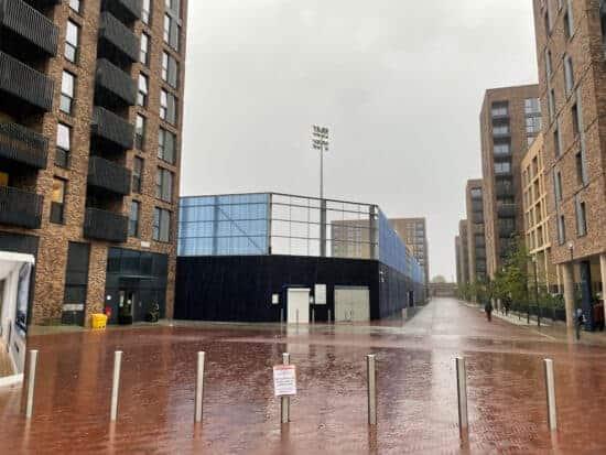 exterior of plough lane stadium with housing