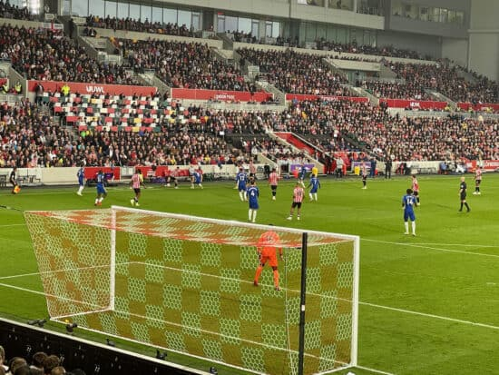 view of football from behind the goal at brentford community stadium