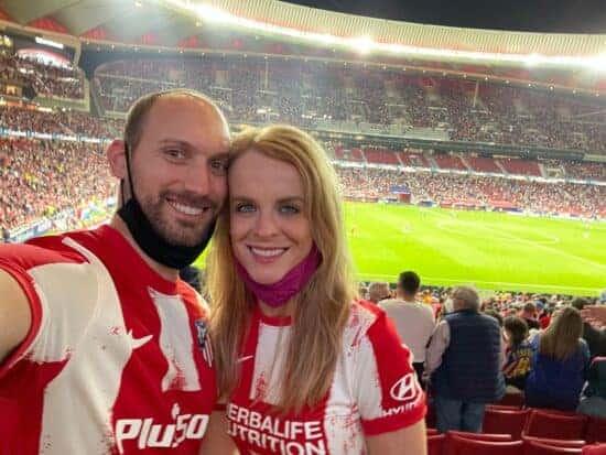 Fans inside Atlético Madrid's stadium