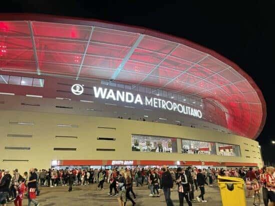people outside of Wanda Metropolitano Stadium on game day